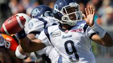 Toronto Argonauts' quarterback Steven Jyles passes against the B.C. Lions during the first half of a CFL football game in Vancouver, B.C., on Saturday September 10, 2011. THE CANADIAN PRESS/Darryl Dyck (Darryl Dyck/CP)