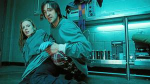 Sarah Polley and Adrien Brody in a scene from Splice.