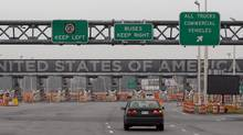 The United States border crossing is shown Wednesday, December 7, 2011. Three Canadian women have launched legal action alleging they were molested by female U.S. border guards while attempting to cross the border near Windsor, Ont. (Ryan Remiorz/THE CANADIAN PRESS/Ryan Remiorz/THE CANADIAN PRESS)