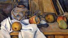 Detail of Paul Cézanne Fruit and Ginger Pot (Fruits et pot de gingembre) 1890-93 oil on canvas 33 x 46.5 cm Stiftung Langmatt, Baden, Switzerland