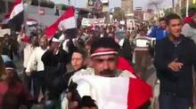 Pro-Mubarak marchers in Mohandessin, screen grab from video shot by Sonia Verma (Sonia Verma for Globe and Mail)