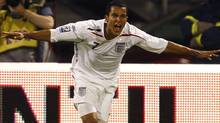 England's Theo Walcott celebrates his goal against Croatia during their World Cup 2010 qualifying soccer match in Zagreb. (Reuters)