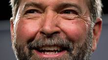 Quebec MP Thomas Mulcair smiles after the final NDP leadership debate in Vancouver on March 11, 2012. (DARRYL DYCK/Darryl Dyck/The Canadian Press)
