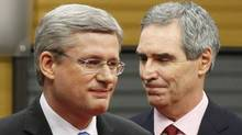 Conservative Party leader and Canadian Prime Minister Stephen Harper (L) and Liberal leader Michael Ignatieff leave after the French-language leaders' debate in Ottawa April 13, 2011. Canadians will head to the polls in a federal election on May 2. (Chris Wattie/Reuters/Chris Wattie/Reuters)