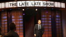 James Corden does bits of comic business with the audience, but they feel forced, while his carpool karaoke routine is massively famous. (Monty Brinton/AP)