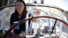 Jeanne Socrates told reporters on Monday that she's 'happy to be called crazy; the crazy lady with the sails.' (CHAD HIPOLITO/THE GLOBE AND MAIL)