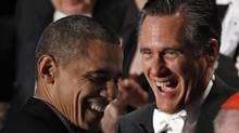 U.S. Republican presidential nominee and former Massachusetts Governor Mitt Romney and U.S. President Barack Obama share a laugh at the Alfred E. Smith Memorial Foundation dinner in New York, Oct. 18, 2012. (Jim Young/Reuters)