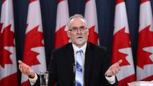 Auditor General of Canada Michael Ferguson holds a press conference at the National Press Theatre regarding the 2016 Fall Reports in Ottawa on Tuesday. (Sean Kilpatrick/The Canadian Press)