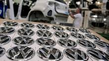 Volkswagen AG headquarters in Wolfsburg, Germany. VW shares rose Thursday as the German auto maker posted a surprise profit, bucking the Europe-wide downturn in car sales. (Nigel Treblin/AP/Nigel Treblin/AP)