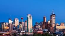 The skyline of downtown Calgary with the Bow building, far right, under construction. (Chris Bolin Photography Inc./Chris Bolin For The Globe and Mail)