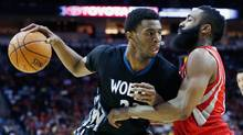 Andrew Wiggins plays against the best in the league, including James Harden of the Houston Rockets, and it's earned him praise from around the league. (Scott Halleran/Getty Images)