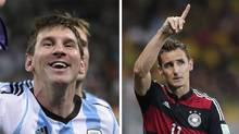 Argentina's Lionel Messi, left, and Germany's Miroslav Klose lead their teams into the 2014 World Cup final. (Manu Fernandez and Matthias Schrader/AP Photo)
