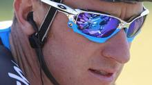 Riders are reflected in the sunglasses of Michael Barry of Canada during the fifth stage of the Tour de France cycling race on Thursday, July 8, 2010. (Associated Press)
