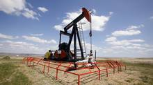 A Canadian Natural Resources pump jack pumps oil out of the ground near Dorothy, Alberta, in this file photo. (TODD KOROL/REUTERS)