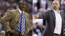 Toronto Raptors head coach Dwane Casey and Brooklyn Nets' head coach Jason Kidd (The Canadian Press)