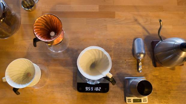 Coffee-making tools at Rogue Wave Coffee.