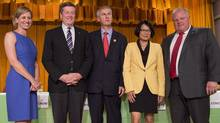 Mayoral candidates, from left to right, Karen Stintz, John Tory, David Soknacki, Olivia Chow, and Rob Ford, after a mayoral debate at Presteign-Woodbine United Church in Toronto on July 28, 2014. (Darren Calabrese for The Globe and Mail)