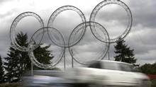 The Olympic rings at Vancouver International Airport (pictured) and another set at Coal Harbour cost $4.5-million according to a financial report released July 9, 2010. (ANDY CLARK/Andy Clark/ Reuters)