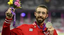 Toronto's Brent Lakatos receives the Silver Medal in the Men's 200m T53 final at the London 2012 Paralympic Games in the Olympic Stadium on September 7, 2012. (Phillip MacCallum)