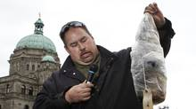 West Moberly First Nations Chief, Roland Wilson, speaks about study results and a call for the B.C. government to reverse its decision to approve the controversial $9 billion Site C dam as he holds a mercury contaminated Bull trout during a news conference on the front lawn of the Legislative Assembly in Victoria, B.C. May 11, 2015. Chad Hipolito for The Globe and Mail. (CHAD HIPOLITO For The Globe and Mail)