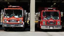 Toronto fire trucks. (Tibor Kolley/The Globe and Mail)