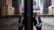 Lawyer Emma Williamson wears skinny jeans for casual Friday at her office in the financial district of Toronto. (Galit Rodan/The Globe and Mail)