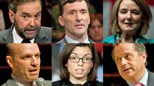 NDP leadership candidates, clockwise from top left, Thomas Mulcair, Paul Dewar, Peggy Nash, Brian Topp, Niki Ashton and Nathan Cullen are shown in a photo combination. (THE CANADIAN PRESS and REUTERS)