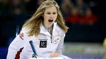 Skip Jennifer Jones shouts at her sweepers during the Roar of the Rings Canadian Olympic Curling Trials in Winnipeg, Manitoba December 1, 2013. (STRINGER/REUTERS)