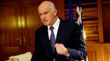 Outgoing Greek Prime Minister George Papandreou speaks during his televised address to the nation in Athens on Nov. 9, 2011. (Vasileios Filis/AFP/Getty Images)