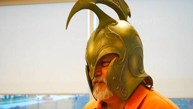 Daniel Tiffin is the principal at Global Demographics Consulting Group, a private research and forecasting company that uses demographics to predict economic trends. In this photo he models an Elven war helmet inspired by the Lord of the Rings film trilogy (Jordana Divon)