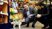 Martin Deschenes, general manager of pet supply company Mondou, in the shop adjacent to Mondou's head office in Anjou, with two-month old husky Kalel and his owner, Mondou customer Pierre-Olivier Cournoyer. (SARAH MONGEAU-BIRKETT For The Globe and Mail)
